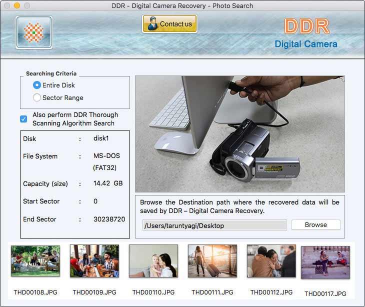 Restore Digital Camera screen shot